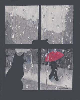 Painting - The Red Umbrella by Quwatha Valentine