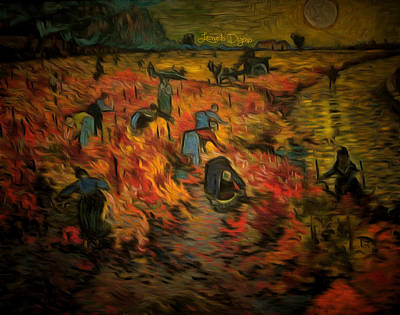 Conceptual Digital Art - The Red Vineyard By Van Gogh Revisited - Da by Leonardo Digenio