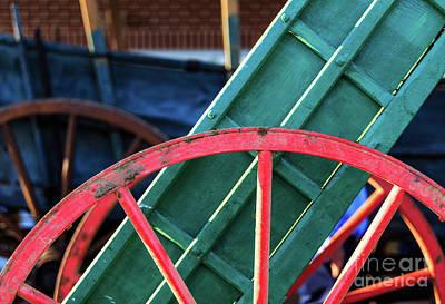 The Red Wagon Wheel Art Print