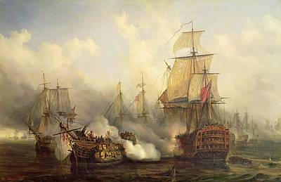 Transportation Painting - Unknown Title Sea Battle by Auguste Etienne Francois Mayer