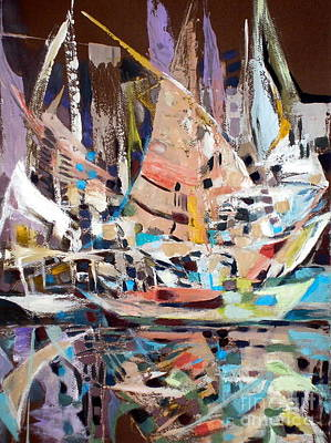 Painting - The Reflection Of Boats by Therese AbouNader