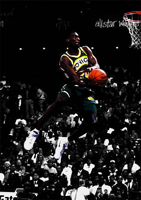 Mixed Media - The Reign Man Shawn Kemp by Brian Reaves