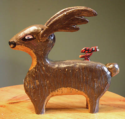 Folk Art Woodcarving Sculpture - The Reindeer And The Cardinal by James Neill