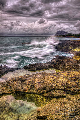 Photograph - The Relentless Sea Oahu West Coast Stormy Sunset Hawaii Collection Art by Reid Callaway