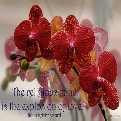 Digital Art - The Religious Mind, Explosion Of Love - Quote by OLena Art Brand