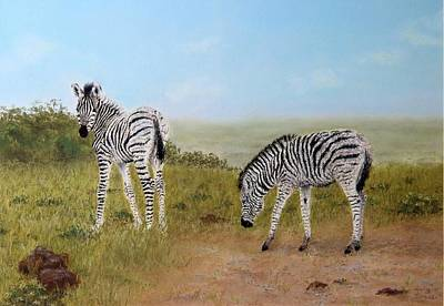 South Africa Zebra Painting - The Reluctant Follower by Julia Sursok