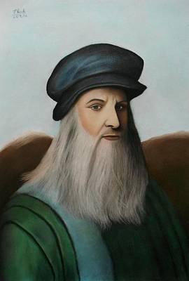 Pastel - The Master Of Renaissance - Leonardo Da Vinci  by Vishvesh Tadsare