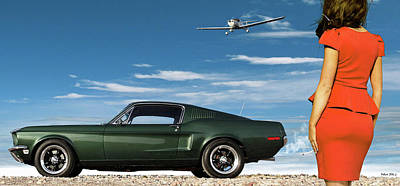 Single Engine Mixed Media - The Rendezvous - 1968 Mustang Fastback by Thomas Pollart