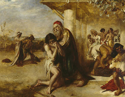 Embrace Painting - The Repentant Prodigal's Return To His Father by William Etty