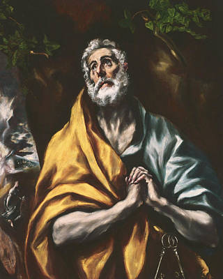 Painting - The Repentant St. Peter by El Greco