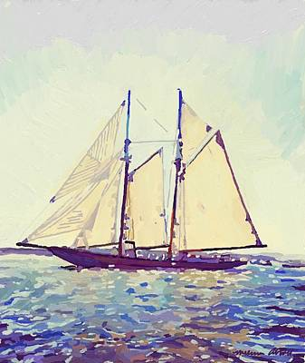 Painting - Schooner Columbia In Gloucester Harbor by Melissa Abbott
