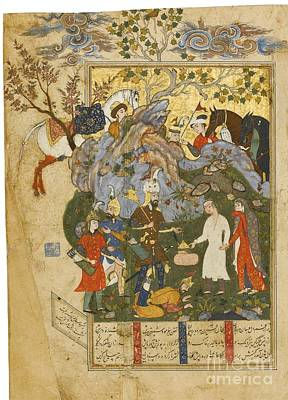Safavid Painting - the Rescue of Bizhan by Celestial Images