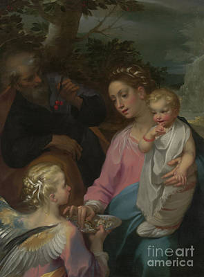 Joseph And The Angel Painting - The Rest On The Flight Into Egypt by Francesco Vanni