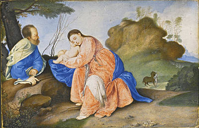 Drawing - The Rest On The Flight Into Egypt by Peter Oliver