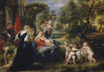 Lamb Painting - The Rest On The Flight Into Egypt With Saints by Peter Paul Rubens