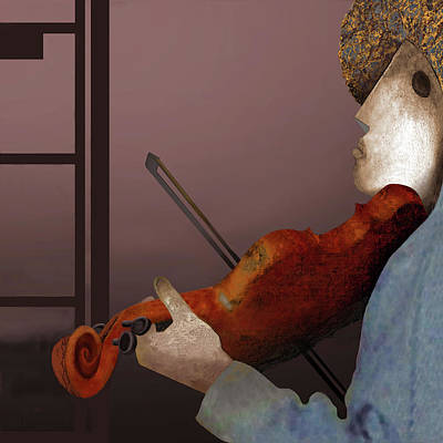 Violin Player Drawing - The Rest Silence by Guy Ciarcia