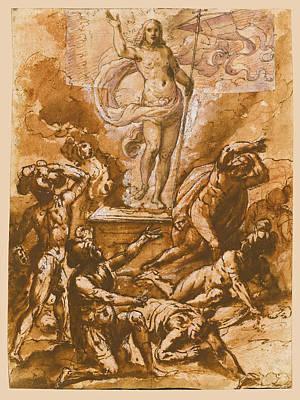 Resurrection Drawing - The Resurrection by Giovanni de' Vecchi