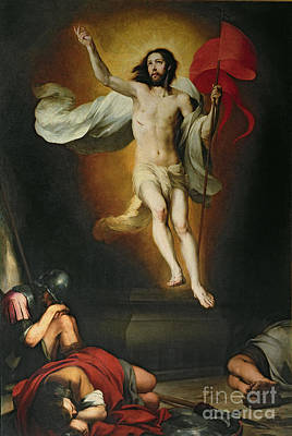 Flags Painting - The Resurrection Of Christ by Bartolome Esteban Murillo