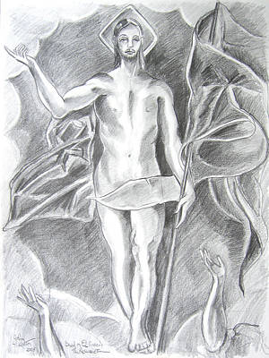 Resurrection Drawing - The Resurrection Of Jesus by John Keaton