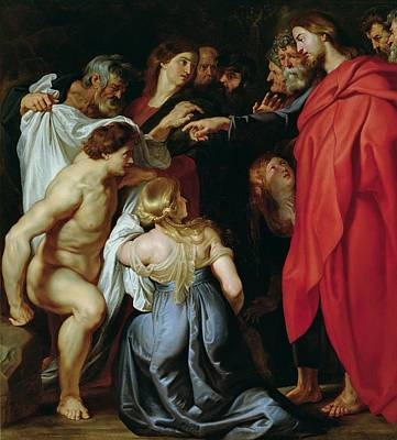 The Resurrection Of Lazarus Print by Rubens