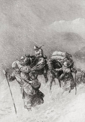 First Snow Drawing - The Retreat Of British Nurses From by Vintage Design Pics