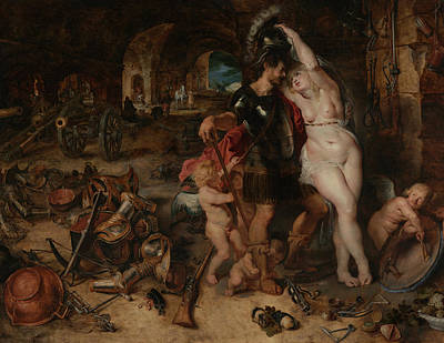 Goddess Mythology Painting - The Return From War- Mars Disarmed By Venus  by Peter Paul Rubens