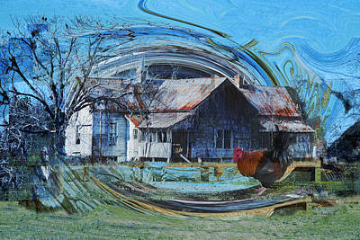 Photograph - The Return Of Rooster To The Old Farm House by rd Erickson