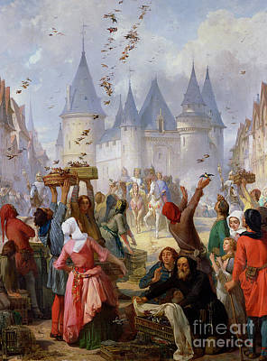 Medieval Entrance Painting - The Return Of Saint Louis Blanche Of Castille To Notre Dame Paris by Pierre Charles Marquis