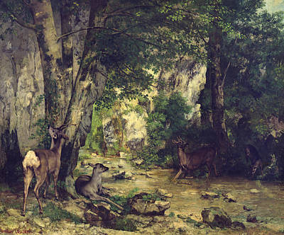 Wildlife Landscape Painting - The Return Of The Deer To The Stream At Plaisir Fontaine by Gustave Courbet