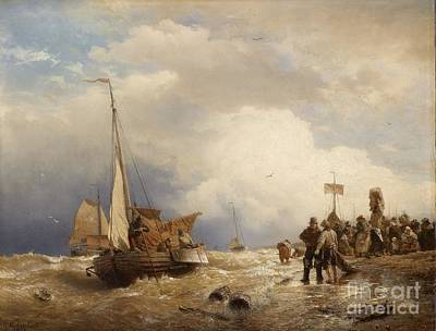 Stormy Painting - The Return Of The Fisher Boats From The Stormy Sea by MotionAge Designs