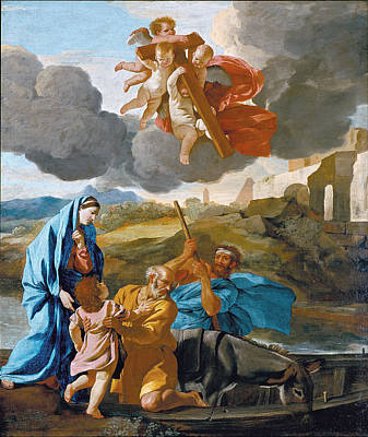 Joseph And The Angel Painting - The Return Of The Holy Family From Egypt by Nicolas Poussin