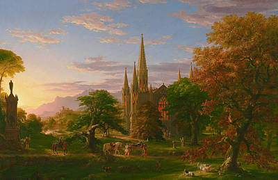 Village Church Painting - The Return by Thomas Cole