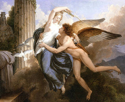 Dove Painting - The Reunion Of Cupid And Psyche by Jean Pierre Saint-Ours