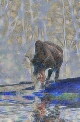 Rhinoceros Mixed Media - The Rhinoceros by Scott Carruthers