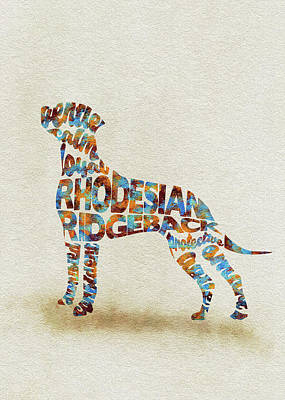 Rhodesian Ridgeback Painting - The Rhodesian Ridgeback Dog Watercolor Painting / Typographic Art by Inspirowl Design