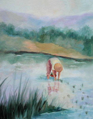 Rice Paddy Painting - The Rice Planter by Ginger Concepcion