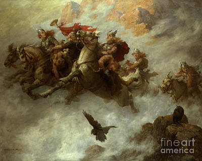 Barbarian Painting - The Ride Of The Valkyries  by William T Maud