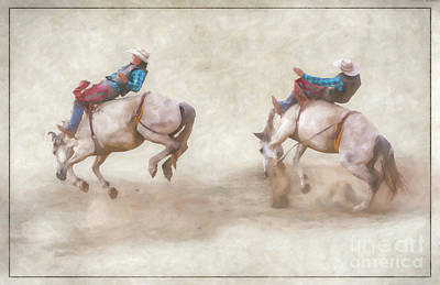 Digital Art - The Ride Rodeo Bronco Riding by Randy Steele