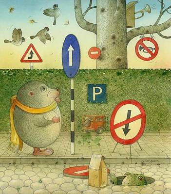 Painting - The Right-hand Hedgehog 02 by Kestutis Kasparavicius