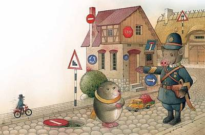 Painting - The Right-hand Hedgehog by Kestutis Kasparavicius