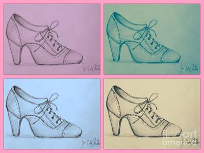 Drawing - The Right Shoe Pop Art by Joan-Violet Stretch