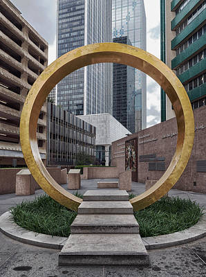 Gold Leaf Ring Sculpture - The Ring Of Thanks - Dallas by Mountain Dreams