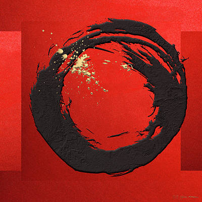 Digital Art - The Rings - Black On Red With Splash Of Gold No. 3 by Serge Averbukh