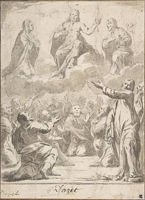 Drawing - The Risen Christ Between The Virgin And St. Joseph Appearing To St. Peter And Other Apostles by Jean Daret