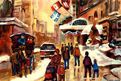 Montreal Winterscenes Painting - The Ritz Carlton Montreal Streetscene by Carole Spandau