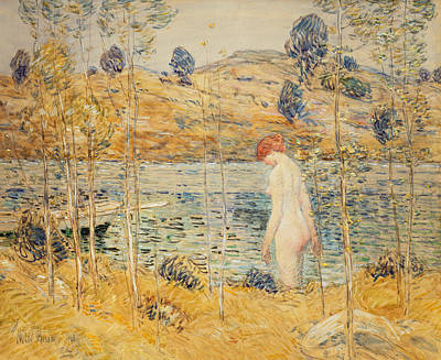 Skinny Dipping Painting - The River Bank by Childe Hassam