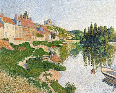 Pointillist Painting - The River Bank by Paul Signac