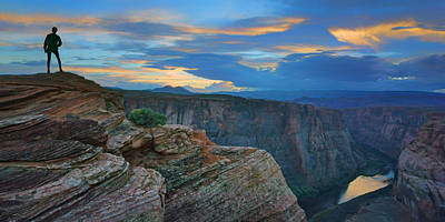 Photograph - The River Below - Horseshoe Bend - Sunset by Nikolyn McDonald