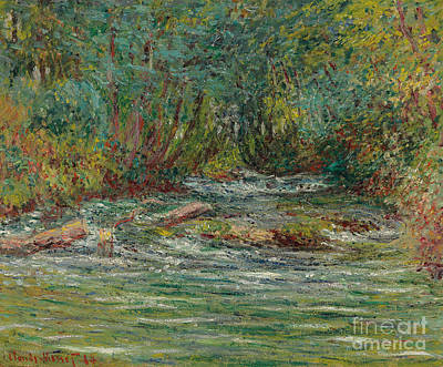 The River Epte At Giverny In Summe Art Print