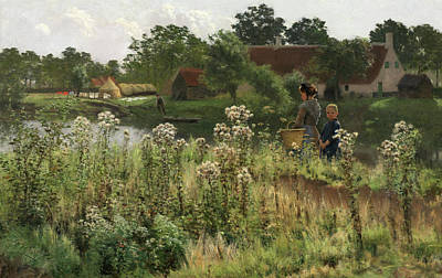 Belgium Painting - The River Lys At Astene by Emile Claus